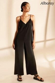 Albaray Black Tencel Wide Leg Jumpsuit