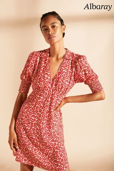 Albaray Pink Small Carnation Print Collared Short Dress