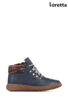 Loretta Navy Leather Ladies Ankle Boots