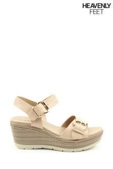 Heavenly Feet Juniper Ladies  Nude Wedge Sandals