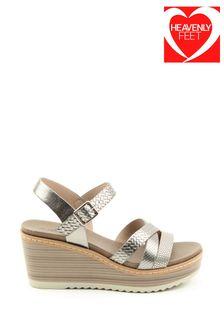 Heavenly Feet Gem Ladies  Pewter Wedge Sandals