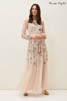Phase Eight Neutral Cherrie Embellished Tulle Maxi Dress