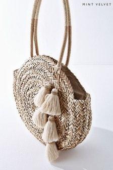 Mint Velvet Petra Round Tassel Straw Bag