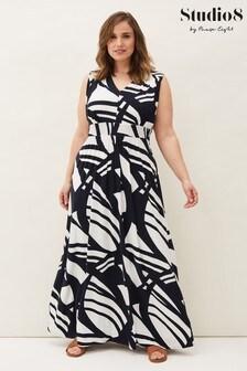 Studio 8 Blue Ostia Abstract Stripe Maxi Dress