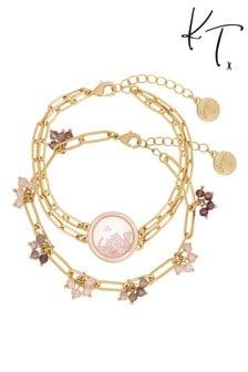 Kate Thornton Gold Rose Quartz Locket Bracelet Set