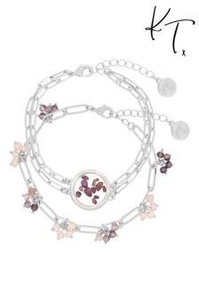 Kate Thornton Silver Amethyst Locket Bracelet Set