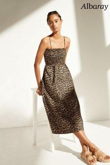 Albaray Leopard Smocked Cami Dress