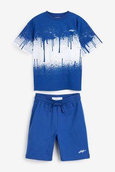 Cobalt Splat Oversized T-Shirt Set (3-16yrs)