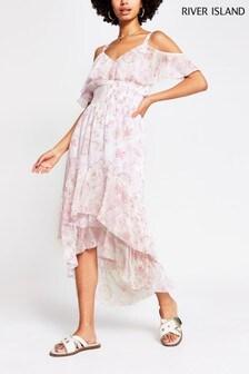 River Island Pink Shirred Waist Midi Dress