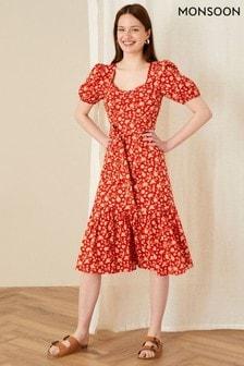Monsoon Floral Print Tiered Midi Dress