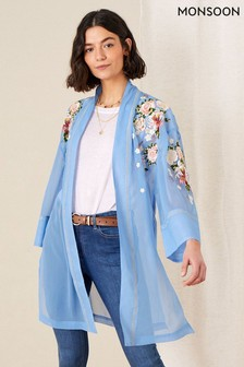 Monsoon Sheer Embroidered Longline Kimono