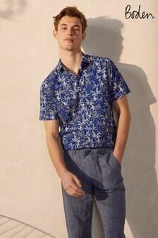 Boden Blue Linen Cotton Interest Shirt