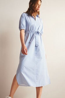 Blue Stripe Dress With Tie Belt