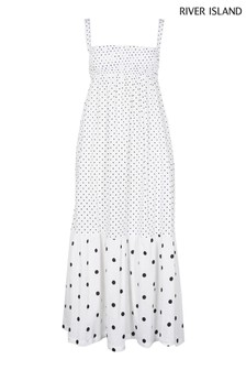 River Island White Midaxi Shirred Parachute Dress