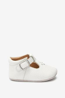 White Leather Little Luxe™ T-Bar Baby Shoes (0-18mths)