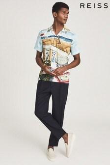 REISS Black Tomei Printed Cuban Collar Shirt