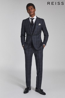 REISS Blue Oxsted Wool Slim Fit Checked Trousers