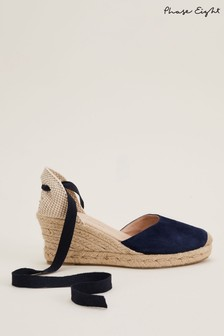 Phase Eight Blue Veronica Ankle Tie Espadrilles
