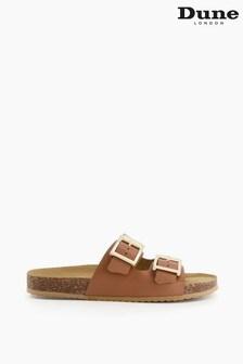 Dune London Brown Lexington Double Strap Buckle Sandals