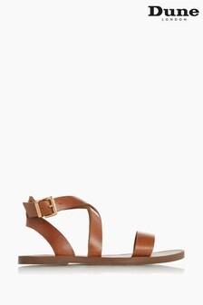 Dune London Brown Leels Wrap Strap Flat Sandals
