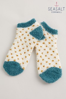 Seasalt Cornwall Yellow Fluffies Trainer Socks