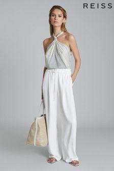 Reiss White Raya Wide Leg Trousers
