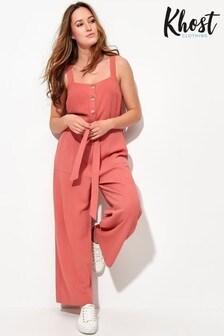 Khost Pink Wide Leg Linen Jumpsuit