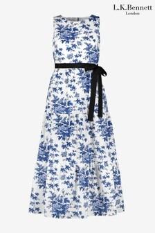 L.K.Bennett x Royal Ascot Hodgkin Blue/White Cotton Dress