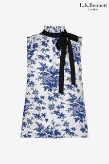 L.K.Bennett x Royal Ascot Blue/White Hodgkin Cotton Top