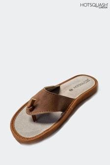 HotSquash Brown Lightweight Leather Flip Flops