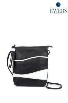 Pavers Ladies Black Leather Cross-Body Bag