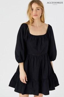 Accessorize Puff Sleeve Poplin Dress
