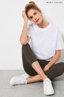 Mint Velvet Khaki Cropped Leggings