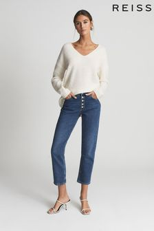 Reiss Blue Bailey Mid Rise Slim Cropped Jeans