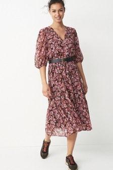 Pink Floral Belted Dress