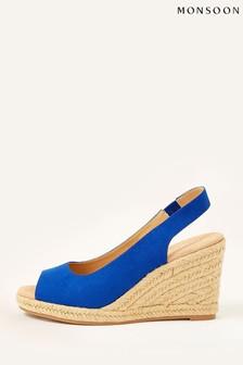 Monsoon Blue Sandy Peep Toe Espadrille Wedge Shoes