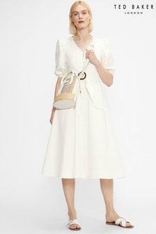 Ted Baker Popppyy Button Through Puff Sleeve Midi Dress