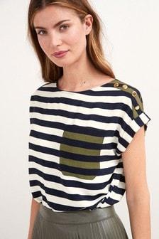 Khaki Stripe Satin T Shirt