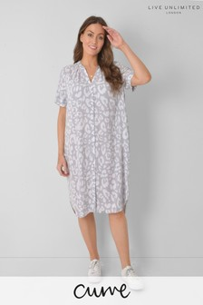 Live Unlimited Curve Grey Animal Shirt Style Dress