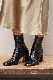 Black Croc Regular/Wide Fit Square Toe Zip Sock Boots