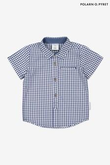 Polarn O. Pyret Blue Organic Cotton Checked Shirt
