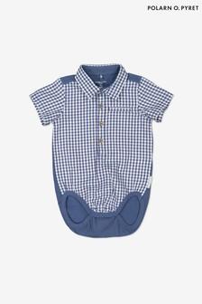 Polarn O. Pyret Blue Organic Cotton Checked Collared Babygrow