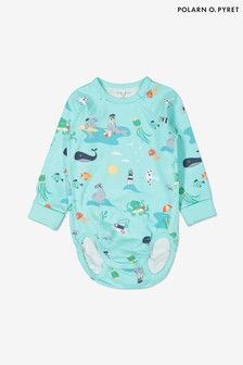 Polarn O. Pyret Blue Organic Cotton Sea Life Print Babygrow