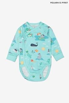 Polarn O. Pyret Blue Organic Cotton Sea Life Print Wraparound Babygrow