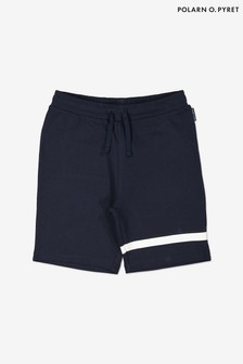 Polarn O. Pyret Blue Organic Cotton Brushed Sweat Shorts
