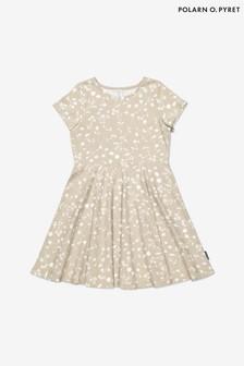Polarn O. Pyret Cream Organic Cotton Meadow Print Dress