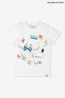 Polarn O. Pyret White Organic Cotton Octopus Print T-Shirt