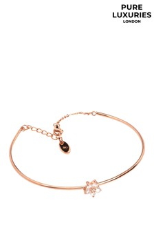 Pure Luxuries London Lopez Rose Gold Plated Silver Flower Bracelet