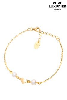 Pure Luxuries London Agneta Yellow Gold Plated Sterling Silver Heart Bracelet
