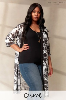 LIVE Curve Mono Floral Sustainable Recycled Polyester Kimono